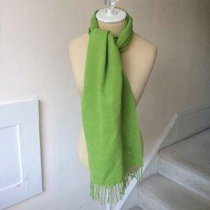 Yves Saint Laurent Green Wool Monogram Scarf NWOT